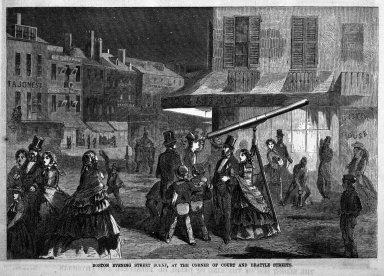 Winslow Homer (American, 1836-1910). Boston Evening Street Scene, at the Corner of Court and Brattle Streets, 1857. Wood engraving, Image: 6 1/2 x 9 1/2 in. (16.5 x 24.1 cm). Brooklyn Museum, Gift of Harvey Isbitts, 1998.105.12