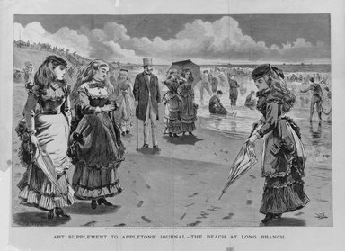 Winslow Homer (American, 1836-1910). The Beach at Long Branch, 1869. Wood engraving, Image: 13 x 19 1/16 in. (33 x 48.4 cm). Brooklyn Museum, Gift of Harvey Isbitts, 1998.105.134