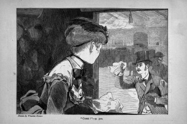 """Winslow Homer (American, 1836-1910). """"Come!,"""" 1869. Wood engraving, Image: 4 7/8 x 6 7/8 in. (12.4 x 17.5 cm). Brooklyn Museum, Gift of Harvey Isbitts, 1998.105.135"""