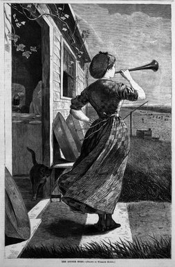 Winslow Homer (American, 1836-1910). The Dinner Horn, 1870. Wood engraving, Image: 13 7/8 x 9 1/8 in. (35.2 x 23.2 cm). Brooklyn Museum, Gift of Harvey Isbitts, 1998.105.150