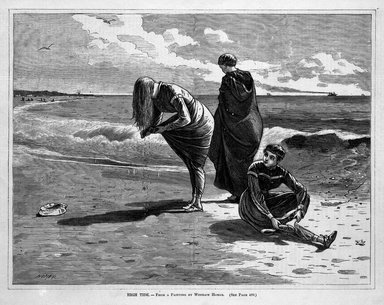 Winslow Homer (American, 1836-1910). High Tide, 1870. Wood engraving, Image: 9 1/4 x 12 1/8 in. (23.5 x 30.8 cm). Brooklyn Museum, Gift of Harvey Isbitts, 1998.105.152