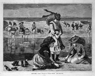 Winslow Homer (American, 1836-1910). Low Tide, 1870. Wood engraving, Image: 9 1/4 x 12 1/8 in. (23.5 x 30.8 cm). Brooklyn Museum, Gift of Harvey Isbitts, 1998.105.153