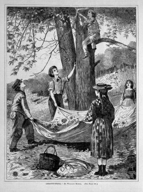 Winslow Homer (American, 1836-1910). Chestnutting, 1870. Wood engraving, Sheet: 11 3/4 x 8 3/4 in. (29.8 x 22.2 cm). Brooklyn Museum, Gift of Harvey Isbitts, 1998.105.157