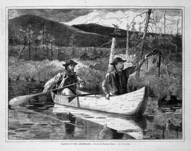 Winslow Homer (American, 1836-1910). Trapping in the Adirondacks, 1870. Wood engraving, Image: 9 1/4 x 12 1/8 in. (23.5 x 30.8 cm). Brooklyn Museum, Gift of Harvey Isbitts, 1998.105.158