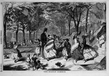 Winslow Homer (American, 1836-1910). The Boston Common, 1858. Wood engraving, Image: 9 1/8 x 13 3/4 in. (23.2 x 34.9 cm). Brooklyn Museum, Gift of Harvey Isbitts, 1998.105.15