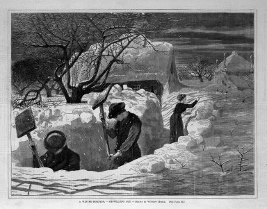 Winslow Homer (American, 1836-1910). A Winter-Morning,--Shovelling Out, 1871. Wood engraving, Image: 9 1/4 x 12 1/8 in. (23.5 x 30.8 cm). Brooklyn Museum, Gift of Harvey Isbitts, 1998.105.164