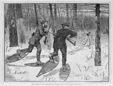 Winslow Homer (American, 1836-1910). Deer-Stalking in the Adirondacks in Winter, 1871. Wood engraving, Image: 9 1/8 x 12 in. (23.2 x 30.5 cm). Brooklyn Museum, Gift of Harvey Isbitts, 1998.105.165