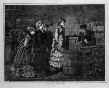 "Winslow Homer (American, 1836-1910). ""A Country Store--Getting Weighed,"" 1871. Wood engraving, Image: 9 1/8 x 12 in. (23.2 x 30.5 cm). Brooklyn Museum, Gift of Harvey Isbitts, 1998.105.168"