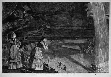 Winslow Homer (American, 1836-1910). Under the Falls, Catskill Mountains, 1872. Wood engraving, Image: 9 1/4 x 13 7/8 in. (23.5 x 35.2 cm). Brooklyn Museum, Gift of Harvey Isbitts, 1998.105.172