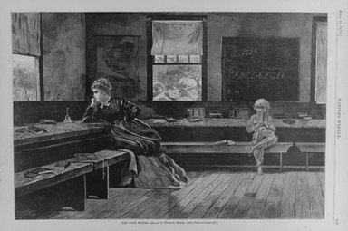 Winslow Homer (American, 1836-1910). The Noon Recess, 1873. Wood engraving, Image: 9 1/8 x 13 5/8 in. (23.2 x 34.6 cm). Brooklyn Museum, Gift of Harvey Isbitts, 1998.105.174