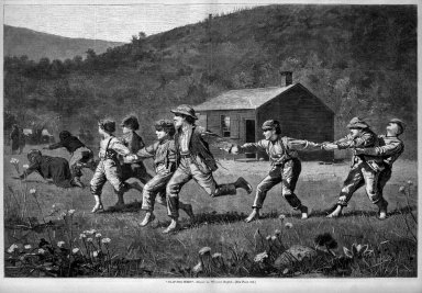 "Winslow Homer (American, 1836-1910). ""Snap-the-Whip,"" 1873. Wood engraving, Image: 13 3/4 x 20 3/4 in. (34.9 x 52.7 cm). Brooklyn Museum, Gift of Harvey Isbitts, 1998.105.178"