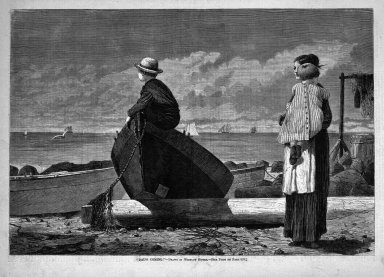 "Winslow Homer (American, 1836-1910). ""Dad's Coming!,"" 1873. Wood engraving, Image: 9 1/4 x 13 5/8 in. (23.5 x 34.6 cm). Brooklyn Museum, Gift of Harvey Isbitts, 1998.105.181"
