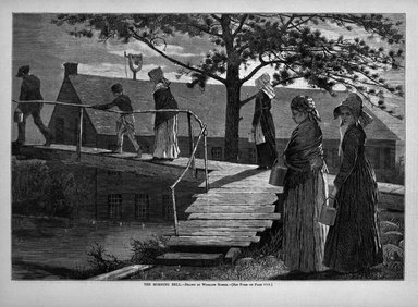 Winslow Homer (American, 1836-1910). The Morning Bell, 1873. Wood engraving, Image: 9 1/4 x 13 1/2 in. (23.5 x 34.3 cm). Brooklyn Museum, Gift of Harvey Isbitts, 1998.105.183