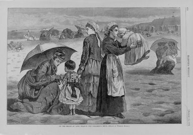 Winslow Homer (American, 1836-1910). On the Beach at Long Branch--The Children's Hour, 1874. Wood engraving, Image: 9 1/4 x 13 5/8 in. (23.5 x 34.6 cm). Brooklyn Museum, Gift of Harvey Isbitts, 1998.105.190