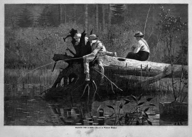 Winslow Homer (American, 1836-1910). Waiting for a Bite, 1874. Wood engraving, Sheet: 9 x 13 11/16 in. (22.9 x 34.8 cm). Brooklyn Museum, Gift of Harvey Isbitts, 1998.105.191