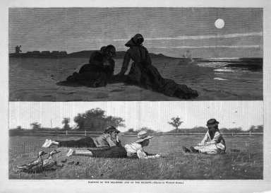 Winslow Homer (American, 1836-1910). Flirting on the Sea-Shore and on the Meadow, 1874. Wood engraving, Image: 9 1/4 x 13 5/8 in. (23.5 x 34.6 cm). Brooklyn Museum, Gift of Harvey Isbitts, 1998.105.194