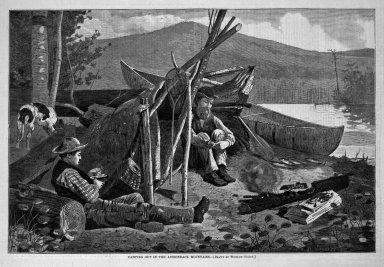Winslow Homer (American, 1836-1910). Camping Out in the Adirondack Mountains, 1874. Wood engraving, Image: 9 1/8 x 13 3/4 in. (23.2 x 34.9 cm). Brooklyn Museum, Gift of Harvey Isbitts, 1998.105.195