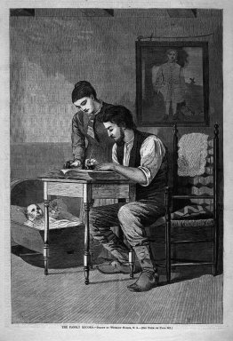 Winslow Homer (American, 1836-1910). The Family Record, 1875. Wood engraving, Image: 13 5/8 x 9 1/8 in. (34.6 x 23.2 cm). Brooklyn Museum, Gift of Harvey Isbitts, 1998.105.197