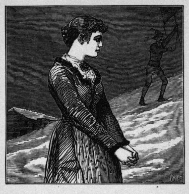 "Winslow Homer (American, 1836-1910). "" 'O Stay!' the maiden said,"" 1878. Wood engraving, Image: 2 1/8 x 2 1/8 in. (5.4 x 5.4 cm). Brooklyn Museum, Gift of Harvey Isbitts, 1998.105.200"
