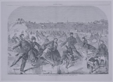 Winslow Homer (American, 1836-1910). Skating on the Ladies' Skating-Pond in the Central Park, New York, 1860. Wood engraving, Image: 13 7/8 x 20 3/8 in. (35.2 x 51.8 cm). Brooklyn Museum, Gift of Harvey Isbitts, 1998.105.34