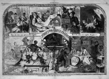 "Winslow Homer (American, 1836-1910). ""Thanksgiving Day, 1860--The Two Great Classes of Society,"" 1860. Wood engraving, Image: 13 7/8 x 20 1/2 in. (35.2 x 52.1 cm). Brooklyn Museum, Gift of Harvey Isbitts, 1998.105.43"
