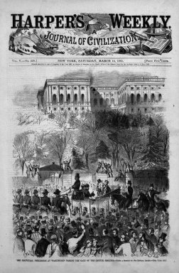 Winslow Homer (American, 1836-1910). The Inaugural Procession at Washington Passing the Gate of the Capitol Grounds , 1861. Wood engraving, Image: 11 x 9 1/8 in. (27.9 x 23.2 cm). Brooklyn Museum, Gift of Harvey Isbitts, 1998.105.50