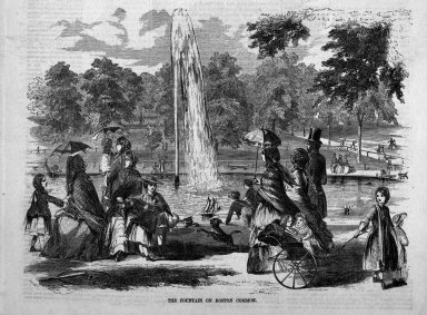 Winslow Homer (American, 1836-1910). The Fountain on Boston Common, 1857. Wood engraving, Sheet: 15 x 11 1/8 in. (38.1 x 28.3 cm). Brooklyn Museum, Gift of Harvey Isbitts, 1998.105.5