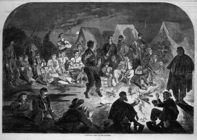 Winslow Homer (American, 1836-1910). A Bivouac Fire on the Potomac, 1861. Wood engraving, Image: 13 7/8 x 20 1/4 in. (35.2 x 51.4 cm). Brooklyn Museum, Gift of Harvey Isbitts, 1998.105.64