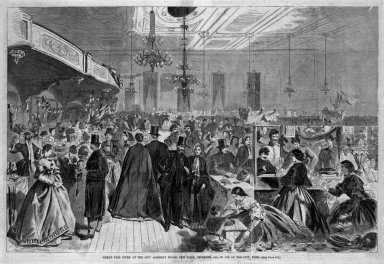 Winslow Homer (American, 1836-1910). Great Fair Given at the City Assembly Rooms, New York, December, 1861, in Aid of the City Poor, 1861. Wood engraving, Image: 13 3/8 x 20 3/8 in. (34 x 51.8 cm). Brooklyn Museum, Gift of Harvey Isbitts, 1998.105.65