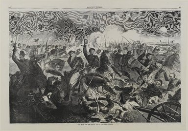 Winslow Homer (American, 1836-1910). A War for the Union 1862--A Cavalry Charge, 1862. Wood engraving, Image: 13 5/8 x 20 5/8 in. (34.6 x 52.4 cm). Brooklyn Museum, Gift of Harvey Isbitts, 1998.105.74