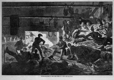 Winslow Homer (American, 1836-1910). Winter-Quarters in Camp--The Inside of a Hut, 1863. Wood engraving, Image: 9 1/8 x 13 3/4 in. (23.2 x 34.9 cm). Brooklyn Museum, Gift of Harvey Isbitts, 1998.105.78