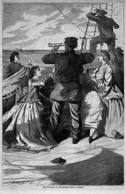 "Winslow Homer (American, 1836-1910). The Approach of the British Pirate ""Alabama,"" 1863. Wood engraving, Image: 13 3/4 x 9 1/8 in. (34.9 x 23.2 cm). Brooklyn Museum, Gift of Harvey Isbitts, 1998.105.81"