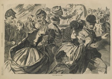 Winslow Homer (American, 1836-1910). Home from the War, 1863. Wood engraving, Illustration:  9 1/8 x  13  7/8  in. Brooklyn Museum, Gift of Harvey Isbitts, 1998.105.82