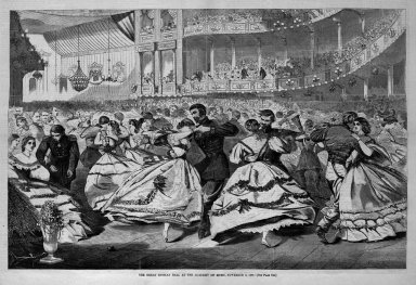Winslow Homer (American, 1836-1910). The Great Russian Ball at the Academy of Music, November 5, 1863, 1863. Wood engraving, Image: 13 1/4 x 20 3/8 in. (33.7 x 51.8 cm). Brooklyn Museum, Gift of Harvey Isbitts, 1998.105.84