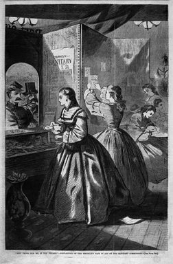 """Winslow Homer (American, 1836-1910). """"Any Thing for Me, If You Please?""""--Post Office of the Brooklyn Fair in Aid of the Sanitary Commission, 1864. Wood engraving, Image: 13 5/8 x 9 in. (34.6 x 22.9 cm). Brooklyn Museum, Gift of Harvey Isbitts, 1998.105.87"""