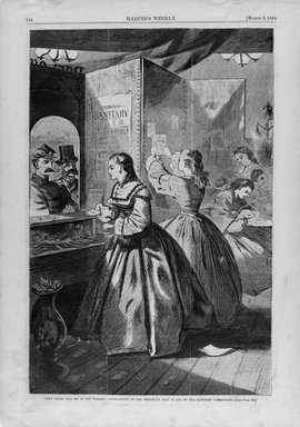 "Winslow Homer (American, 1836-1910). ""Any Thing for Me, If You Please?""--Post Office of the Brooklyn Fair in Aid of the Sanitary Commission, 1864. Wood engraving, Image: 13 5/8 x 9 in. (34.6 x 22.9 cm). Brooklyn Museum, Gift of Harvey Isbitts, 1998.105.87"