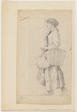 Charles Sprague Pearce (American, 1851-1914). French Peasant Woman, n.d. Graphite on beige thick smooth paper, Sheet: 11 x 6 3/8 in. (27.9 x 16.2 cm). Brooklyn Museum, Emily Winthrop Miles Fund, 1998.112