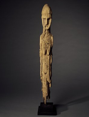 Konso. Grave Marker in the Form of a Female Figure, 19th century or earlier. Gayo wood, 39 1/4 x 4 1/4 x 4 1/4 in.  (99.7 x 10.8 x 10.8 cm). Brooklyn Museum, Gift of Serge and Jodie Becker-Patterson