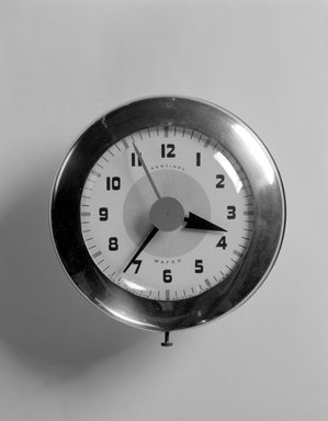 Henry Dreyfuss (American, 1904-1972). Wafer Clock, Model SK 174, ca. 1940. Metal, glass, 7 1/2 x 7 1/8 x 2 3/4 in. (19.1 x 18.1 x 7 cm). Brooklyn Museum, Gift of Eva, Alan, and Louis Brill, 1998.143.5. Creative Commons-BY