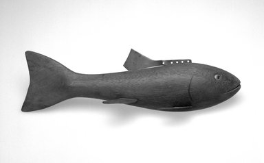 Hans Janner. Fish Decoy, Bass, 1930s. Wood, metals, plastic, 11 3/8 x 3 3/8 x 3 1/8 in.  (28.9 x 8.6 x 7.9 cm). Brooklyn Museum, Gift of the North American Fish Decoy Partners, 1998.148.10. Creative Commons-BY