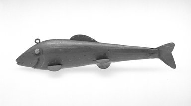 Harry Seymour. Fish Decoy, Trout, ca. 1890. Painted wood, metals, 6 5/8 x 2 1/8 x 1 1/2 in.  (16.8 x 5.4 x 3.8 cm). Brooklyn Museum, Gift of the North American Fish Decoy Partners, 1998.148.22. Creative Commons-BY