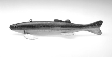 Andrew Trombley. Fish Decoy, Bass, ca. 1950s. Painted wood, metals, 9 5/8 x 2 7/8 x 1 3/4 in.  (24.4 x 7.3 x 4.4 cm). Brooklyn Museum, Gift of the North American Fish Decoy Partners, 1998.148.27. Creative Commons-BY