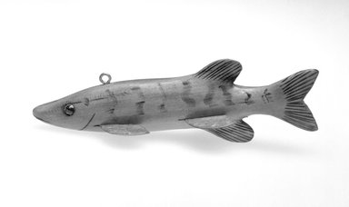 Fish Decoy, 20th century. Painted wood, metals, plastic , 6 5/8 x 2 x 2 in.  (16.8 x 5.1 x 5.1 cm). Brooklyn Museum, Gift of the North American Fish Decoy Partners, 1998.148.40. Creative Commons-BY