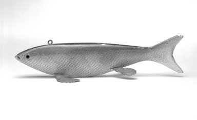 Fish Decoy, Sucker, ca. 1890. Painted wood, metals, glass, 2 x 9 1/4 x 3 in.  (5.1 x 23.5 x 7.6 cm). Brooklyn Museum, Gift of the North American Fish Decoy Partners, 1998.148.44. Creative Commons-BY