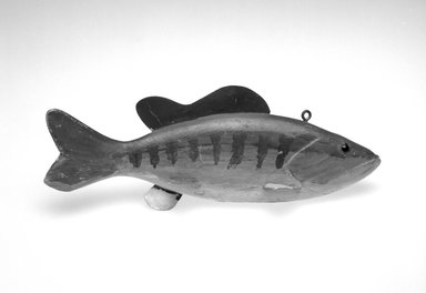 Abraham Goulette. Fish Decoy, Bass, 1930s. Painted wood, metals, glass, 3 3/8 x 9 5/8 x 3 1/4 in.  (8.6 x 24.4 x 8.3 cm). Brooklyn Museum, Gift of the North American Fish Decoy Partners, 1998.148.5. Creative Commons-BY