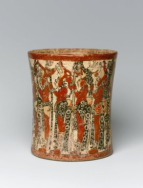 Maya. Cylindrical Vessel, ca. 550-950 C.E. Ceramic, pigment, 6 1/4 x 5 3/8 x 5 3/8 in. (15.9 x 13.7 x 13.7 cm). Brooklyn Museum, Gift in memory of Frederic Zeller, 1998.176.2. Creative Commons-BY