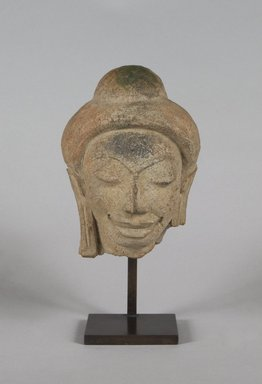 Head of a Buddha, 6th-8th century. Terracotta, 5 x 4 x 2 3/4 in.  (12.7 x 10.2 x 7.0 cm). Brooklyn Museum, Gift of Georgia and Michael de Havenon, 1998.178.1. Creative Commons-BY