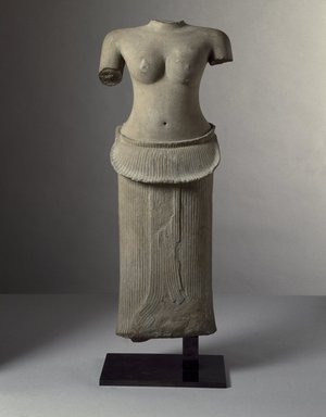 Female Torso, first half of 12th century. Grey sandstone, 35 1/4 x 14 3/4 x 6in. (89.5 x 37.5 x 15.2cm). Brooklyn Museum, Gift of Georgia and Michael de Havenon, 1998.178.3. Creative Commons-BY