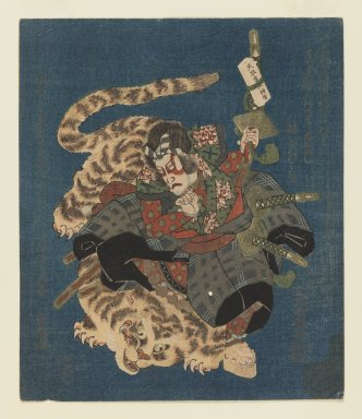 Utayoshi (active 1830-1835). Ichikawa Danjuro VII as Kokusenya Fights Tiger Surimono for Tsurunova Poetry Club of Osaka, ca. 1831. Woodblock print; surimono, 8 9/16 x 7 1/4 in.  (21.7 x 18.4 cm). Brooklyn Museum, Gift of Dr. Eleanor Z. Wallace in memory of her husband, Dr. Stanley L. Wallace, 1998.182.2