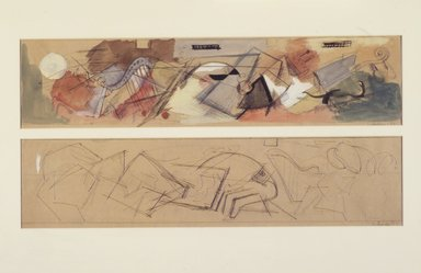 Louis Schanker (American, 1903-1981). Studies for Mural, 1937. Pencil, transparent watercolor, gouache, sight: 10 1/4 x 20 1/2 in.  (26.0 x 52.1 cm). Brooklyn Museum, Gift of Georgia and Michael de Havenon, 1998.189.2. © Estate of Louis Schanker
